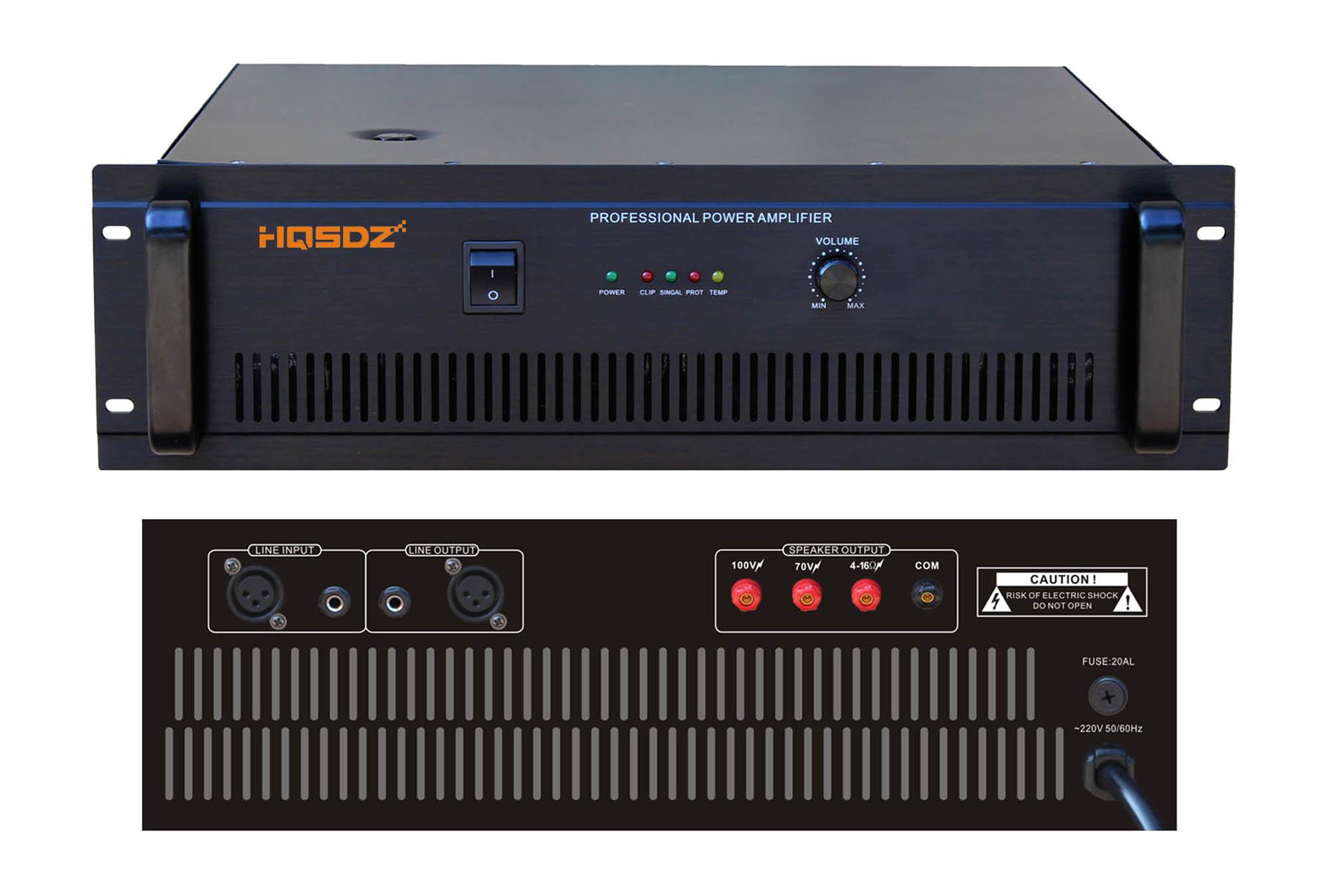 功能描述 1、高档铝质2U黑色拉丝面板,铝质拉手,美观大方; 2、设有RCA插口,XLR插口,非常适用大、中、小型公共场合广播使用; 3、设有100V、70V定压输出和4~16定阻输出;输出音量可调节; 5、5单元LED工作状态显示:电源、信号、消顶、保护、高温,便于观察机器工作情况; 6、具有完善的输出短路保护和超温保护功能;散热风扇强制启动。 中文性能规格参数表